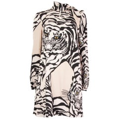 VALENTINO beige & black TIGER Long Sleeve Dress 42