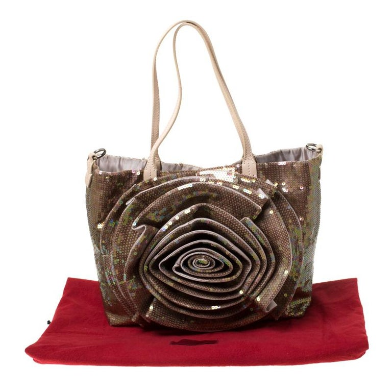 Valentino Beige/Bronze Sequins and Leather Petale Tote For Sale 8