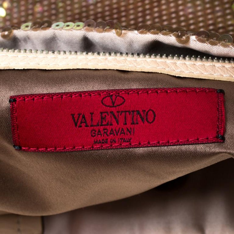 Valentino Beige/Bronze Sequins and Leather Petale Tote For Sale 3