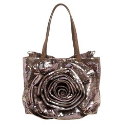 Valentino Beige/Bronze Sequins and Leather Petale Tote