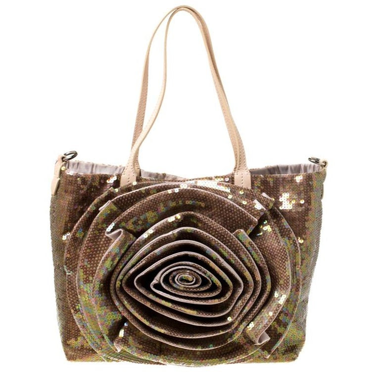 Valentino Beige/Bronze Sequins and Leather Petale Tote For Sale
