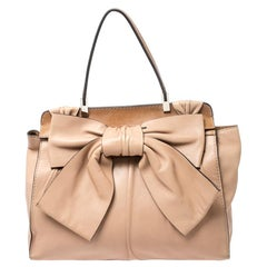 Valentino Beige/Brown Leather Aphrodite Bow Bag