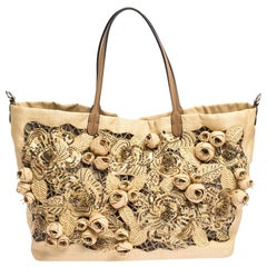 Valentino Beige Canvas, Sequin and Beaded Floral Applique Tote