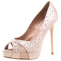 Valentino Beige Crystal Embellished Satin/Mesh Criss Cross Pumps Size 37.5
