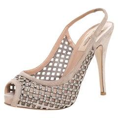 Valentino Beige Crystal Suede Lattice Slingback Platforms Sandals Size 37.5