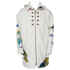 Valentino Beige Denim Beaded Patch Work Detail Oversized Hooded Long Jacket M