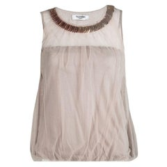 Valentino Beige Embellished Neck Detail Mesh Overlay Sleeveless Top S