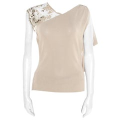 Valentino Beige Floral Lurex Lace Embellished Sleeve Detail Draped Top L