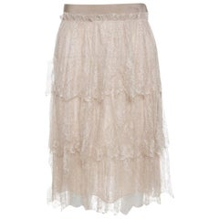 Valentino Beige Floral Tulle Tiered Skirt M