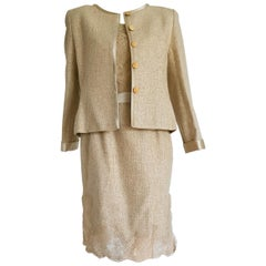 VALENTINO beige hand embroidery silk dress and jacket  - Unworn, New with tags