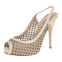 Valentino Beige Lattice Leather And Mesh Studded Slingback Sandals Size 36