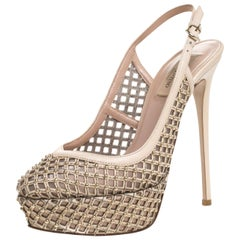 Valentino Beige Lattice Leather And Mesh Studded Slingback Sandals Size 38