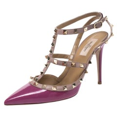 Valentino Beige Leather and Purple Patent Leather Rockstud Sandals Size 40