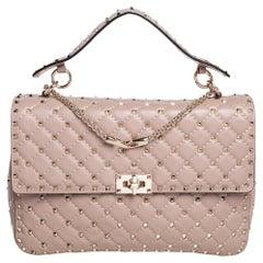 Valentino Beige Leather Large Rockstud Spike Top Handle Bag
