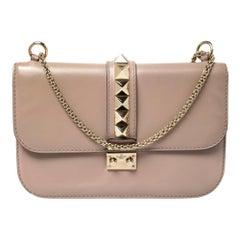 Valentino Beige Leather Medium Rockstud Glam Lock Flap Bag