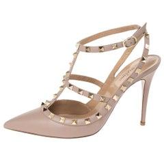 Valentino Beige Leather Rockstud Strappy Sandals Size 40