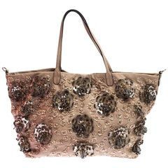 Valentino Beige Leather Sequin Beaded Applique Tote