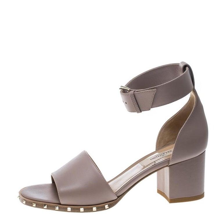 0d564e5120c Valentino Beige Leather Soul Rockstud Ankle Strap Block Heel Sandals Size  36 For Sale 3