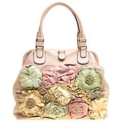 Valentino Beige/Multicolor Leather Floral Applique Frame Satchel