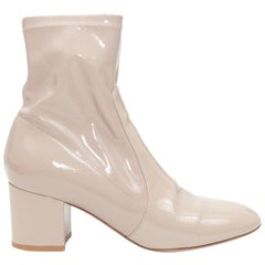 Valentino Beige Patent Leather Ankle Boots