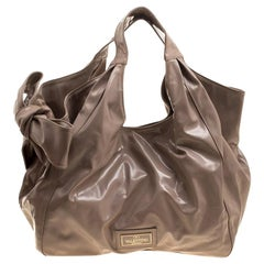 Valentino Beige Patent Leather Bow Hobo