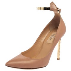 Valentino Beige Patent Leather Chain Ankle Strap Pointed Toe Pumps Size 36.5