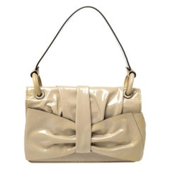 Valentino Beige Patent Leather Flap Shoulder Bag