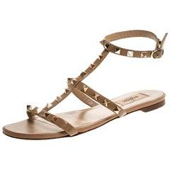 Valentino Beige Patent Leather Rockstud Ankle Strap Flat Sandals Size 38