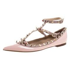 Valentino Beige Patent Leather Rockstud Ballet Flats Size 37.5