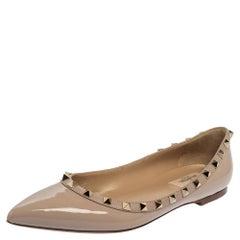 Valentino Beige Patent Leather Rockstud Ballet Flats Size 39.5