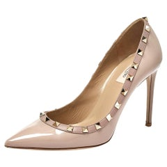 Valentino Beige Patent Leather Rockstud Pointed Toe Pumps Size 39.5