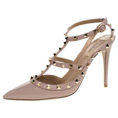 Valentino Beige Patent Leather Rockstud Pointed Toe Sandals Size 40.5