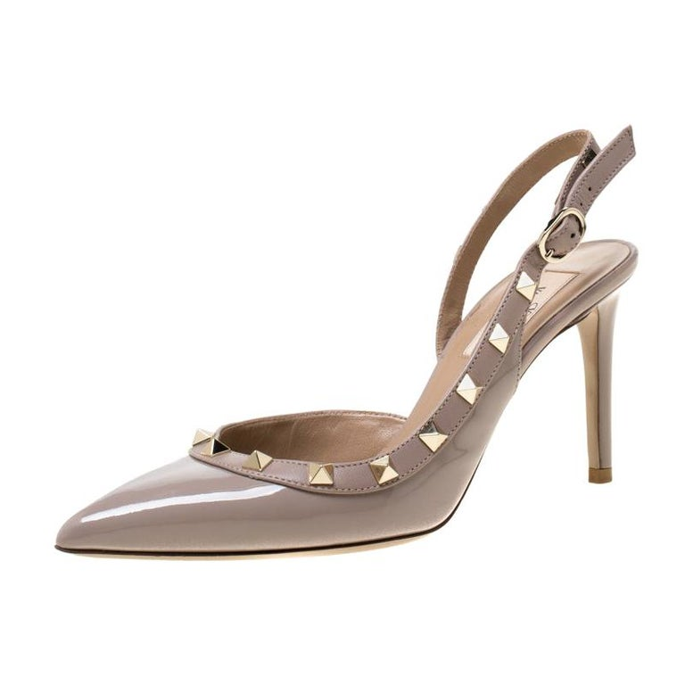 Valentino Beige Patent Leather Studded Pointed Toe Slingback Sandals Size 36.5 For Sale
