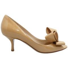 Valentino Beige Peep-Toe Bow Heels