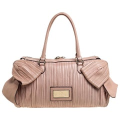 Valentino Beige Pleated Leather Side Bow Satchel