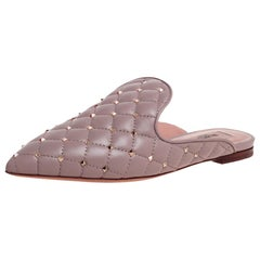 Valentino Beige Quilted Leather Rockstud Embellished Pointed Toe Size 35.5