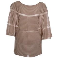 Valentino Beige Rib Knit Short Sleeve Kaftan Top XL