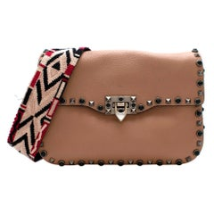 Valentino Beige Rolling Rockstud Bag With Embroidered Guitar Strap