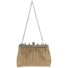 Valentino Beige Satin Crystal and Pearl Embellished Frame Chain Clutch