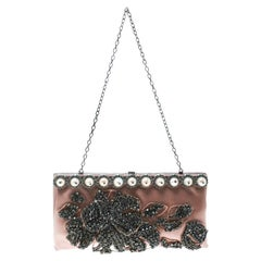 Valentino Beige Satin Crystal and Pearl Embellished Frame Clutch