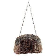 Valentino Beige Satin Petale Rose Crystal Embellished Chain Clutch