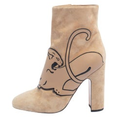 Valentino Beige Suede Panther Ankle Boots Size 41