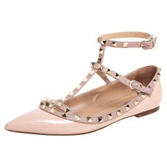 Valentino Beige T Strap Rockstud Pointed Toe Ballet Flats Size 39.5