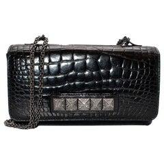 Valentino Black alligator Vavavoom Chain Bag