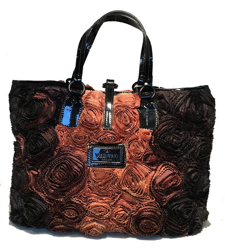 Valentino Black and Brown Silk Rosier Roses Tote Bag In Good Condition For Sale In Philadelphia, PA