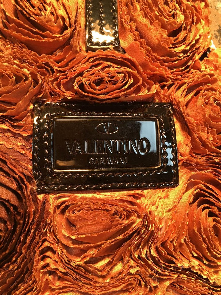 Women's Valentino Black and Brown Silk Rosier Roses Tote Bag For Sale