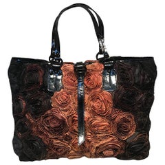Valentino Black and Brown Silk Rosier Roses Tote Bag