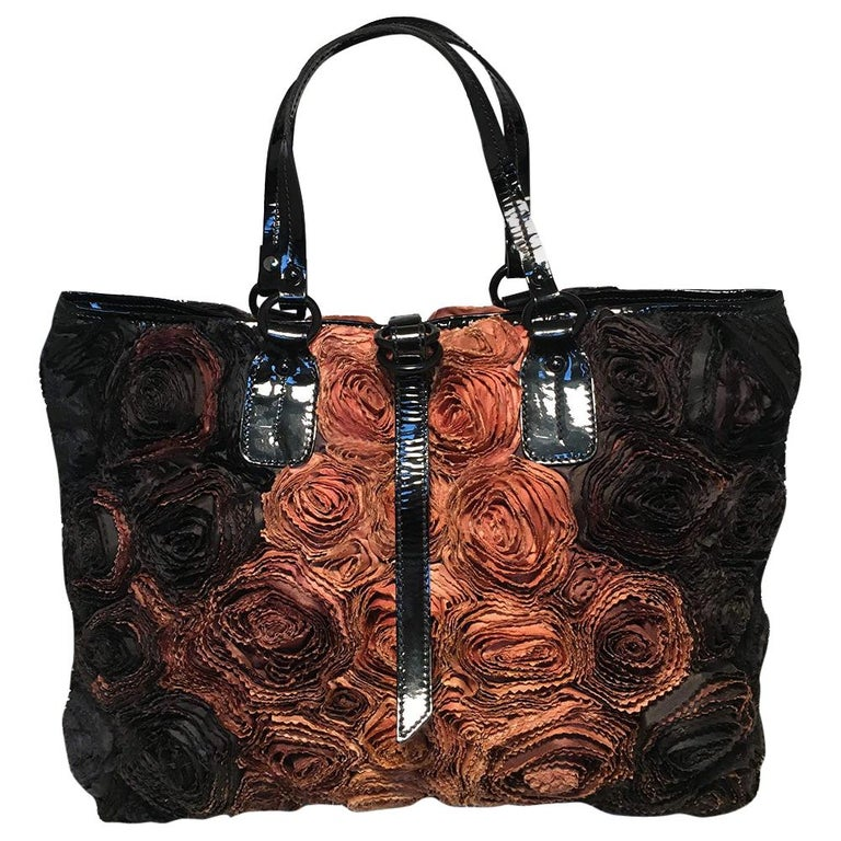 Valentino Black and Brown Silk Rosier Roses Tote Bag For Sale