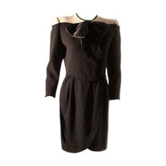 Valentino Black and Cream Wool Day Dress, Circa 1980's