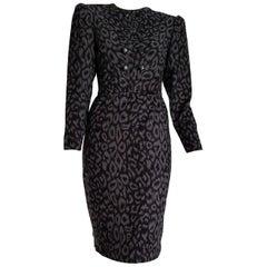 VALENTINO black and grey leopard print cashmere dress - Unworn